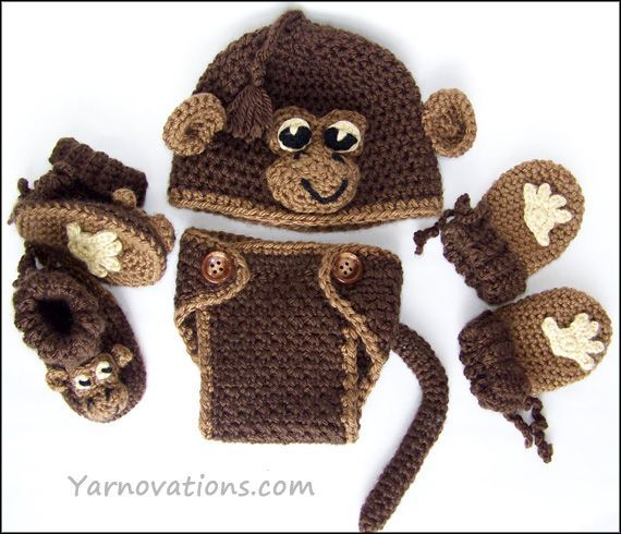 Crochet Baby Monkey Hat Pattern Set Diaper Cover Sets Pinterest