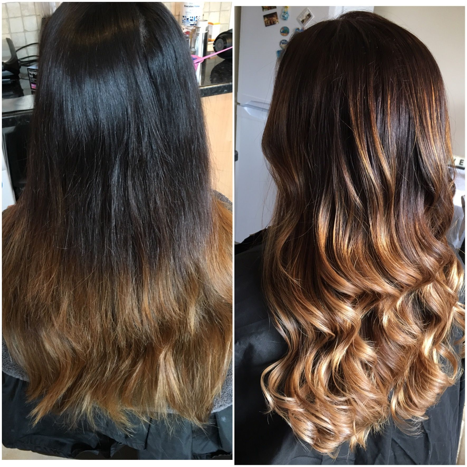 Ballayage Blond se rapportant à fresh ombré , long and curly , blow dry , brown , blonde , dark