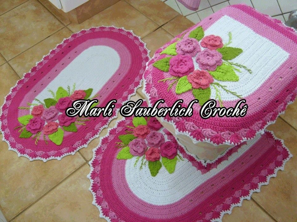 Juego en crochet para ba o creaciones para el hogar for Accesorios para cortinas de bano