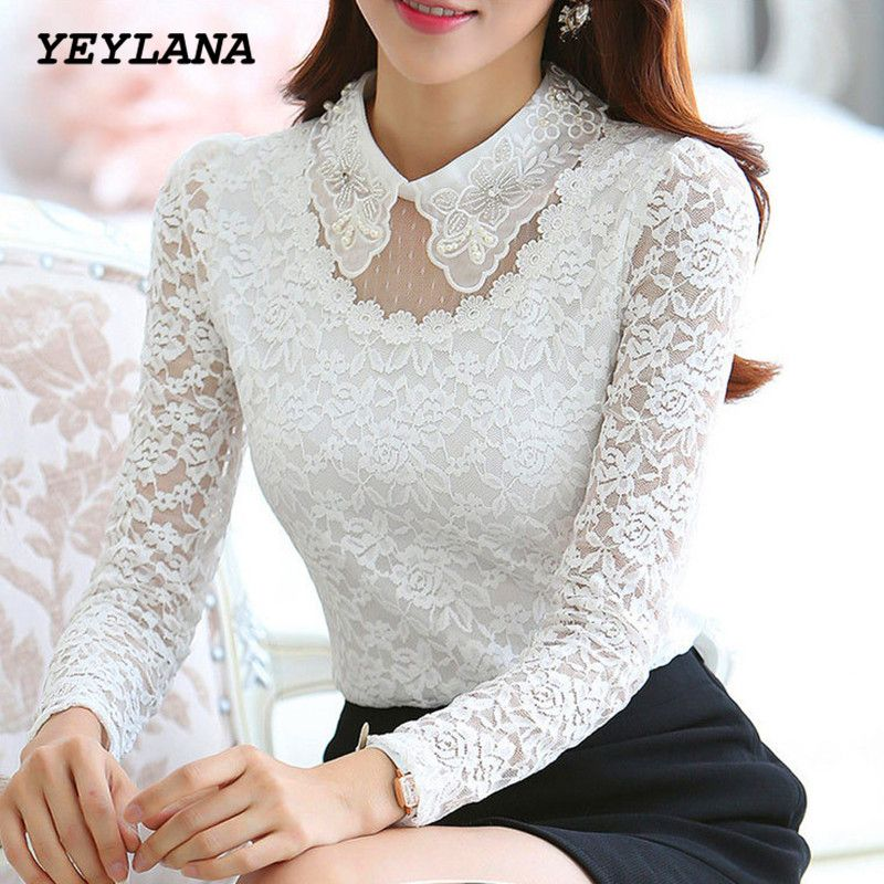 f0889eca2d YEYELANA Mulheres blusas Nova Primavera 2017 casual blusa Branca Elegante  Peter Pan Colarinho de Lã de Manga Comprida de Renda Camisa Blusa A014