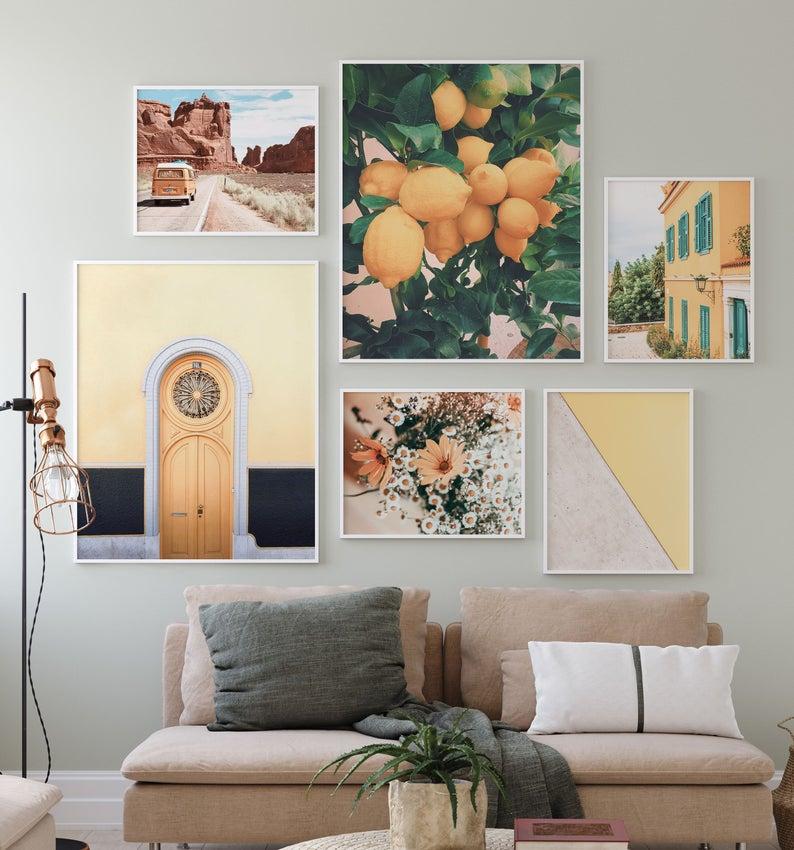 Mustard Yellow Gallery Wall Art Set Of 6 Boho Decor Prints Etsy In 2020 Art Gallery Wall Gallery Wall Art Set Gallery Wall #prints #for #the #living #room