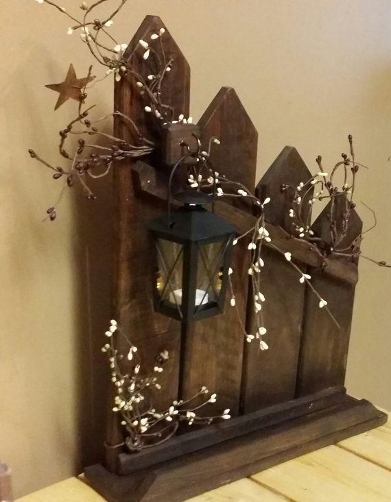 Primitive lantern candle holder decor Rustic reclaimed #rustichomedecor