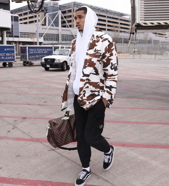 aaf1bc2efae Jordan Clarkson Wears Supreme Camo Jacket