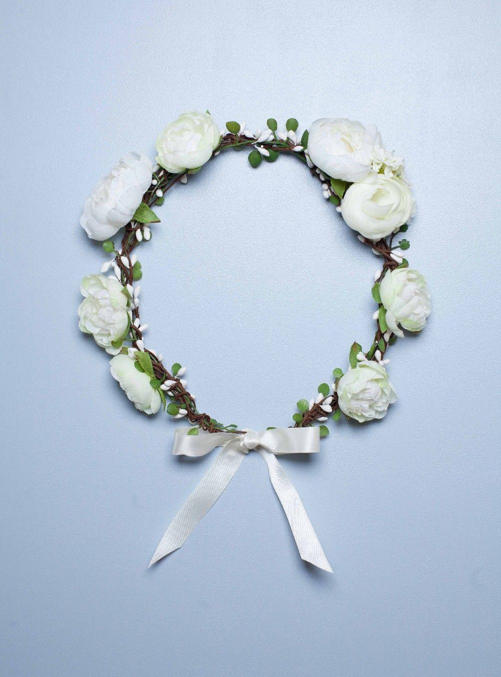 Couronne de fleur blanches pivoines mariage ivoire cassandre english garden couronne pivoine - Couronne fleurs mariee ...