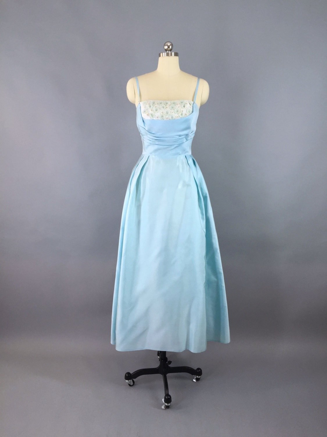 1950s Vintage Sky Blue Formal Party Dress thisbluebird.com #dress #dresses #vintagedress #vintage #vintagedresses #daydress #fashion #vintagefashion #outfit  #thisbluebird