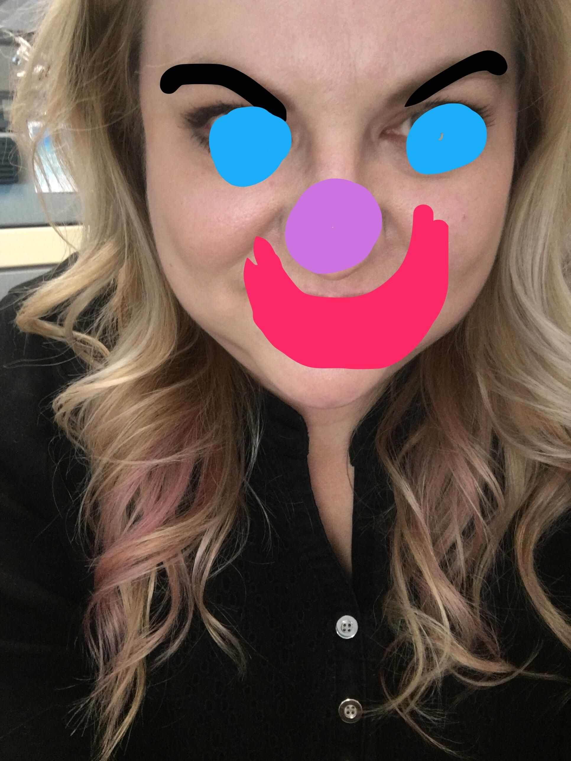 Light orchid and peach peekaboos that no one at work questions. I'm obviously a master of disguise here.