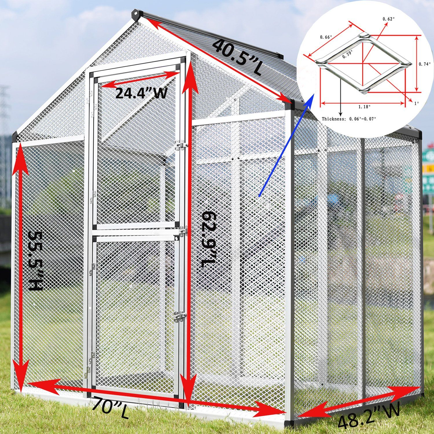 Paney Large Aluminum Bird Cage Parrot Cockatiel Macare Walk In Aviary With Pegs Pet Supply Ad Bird Cage Parrot Pane Pet Bird Cage Bird Cage Macaw Cage