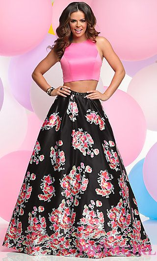 Two-Piece Prom Dress with Floral A-Line Skirt at PromGirl.com