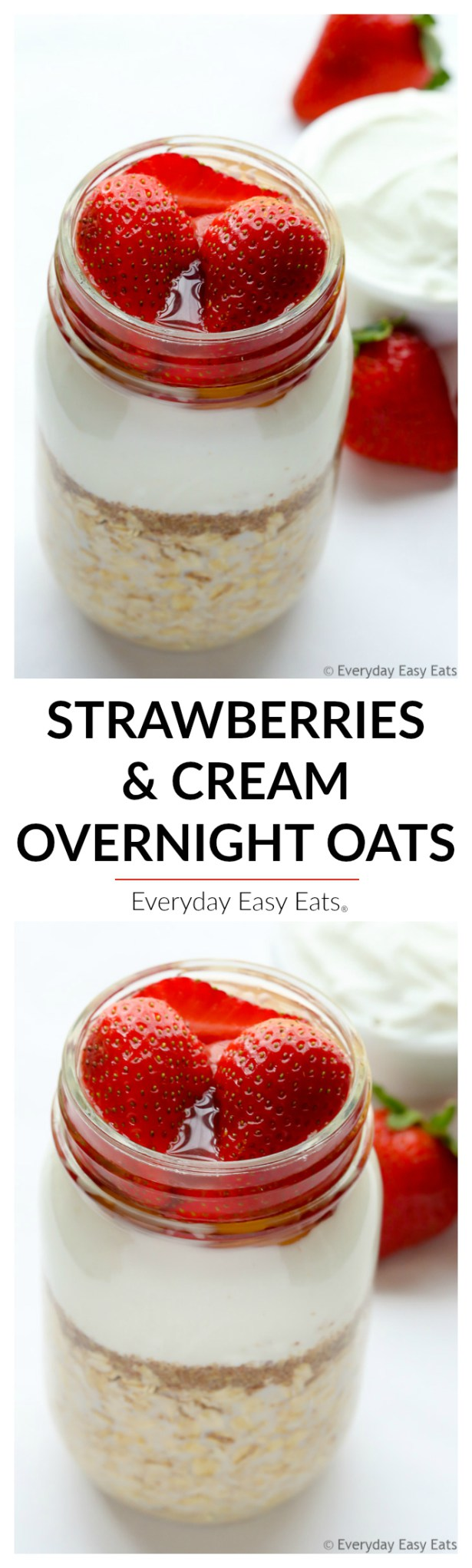 Save time in the morning with this Strawberries & Cream Overnight Oats recipe. Only 6 ingredients and 5 minutes of prep time are needed!