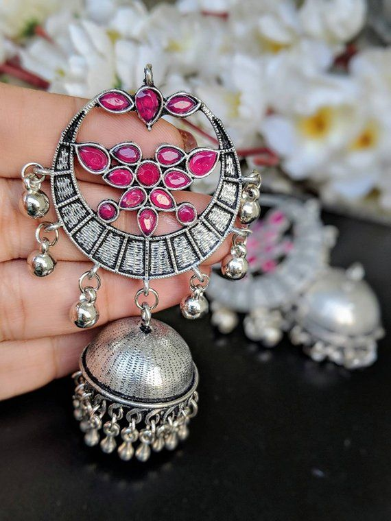 f7aadd58b Jhumkas,German silver, oxidised silver, indian jewelry,ethnic jhumkas,  stone studded earrings
