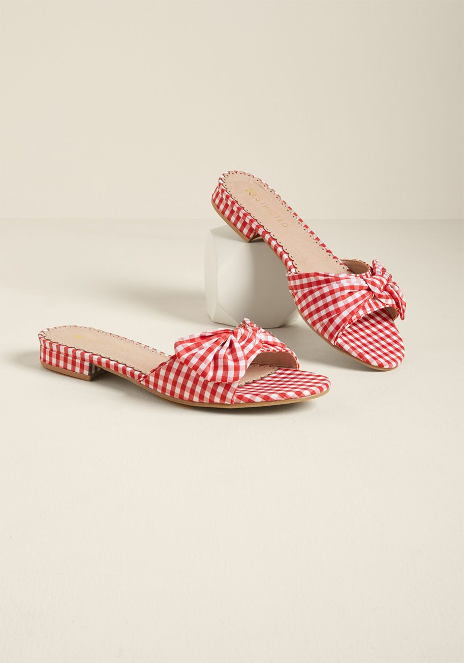 Restricted Trot with Knots Red Gingham Slide Sandals