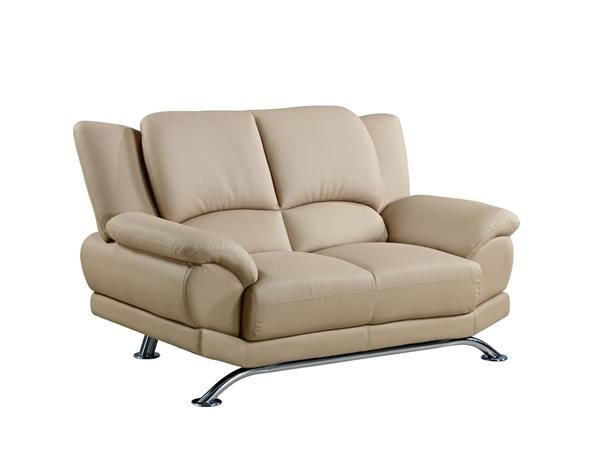 Cappuccino Chrome Leather Bonded Leather Metal Loveseat