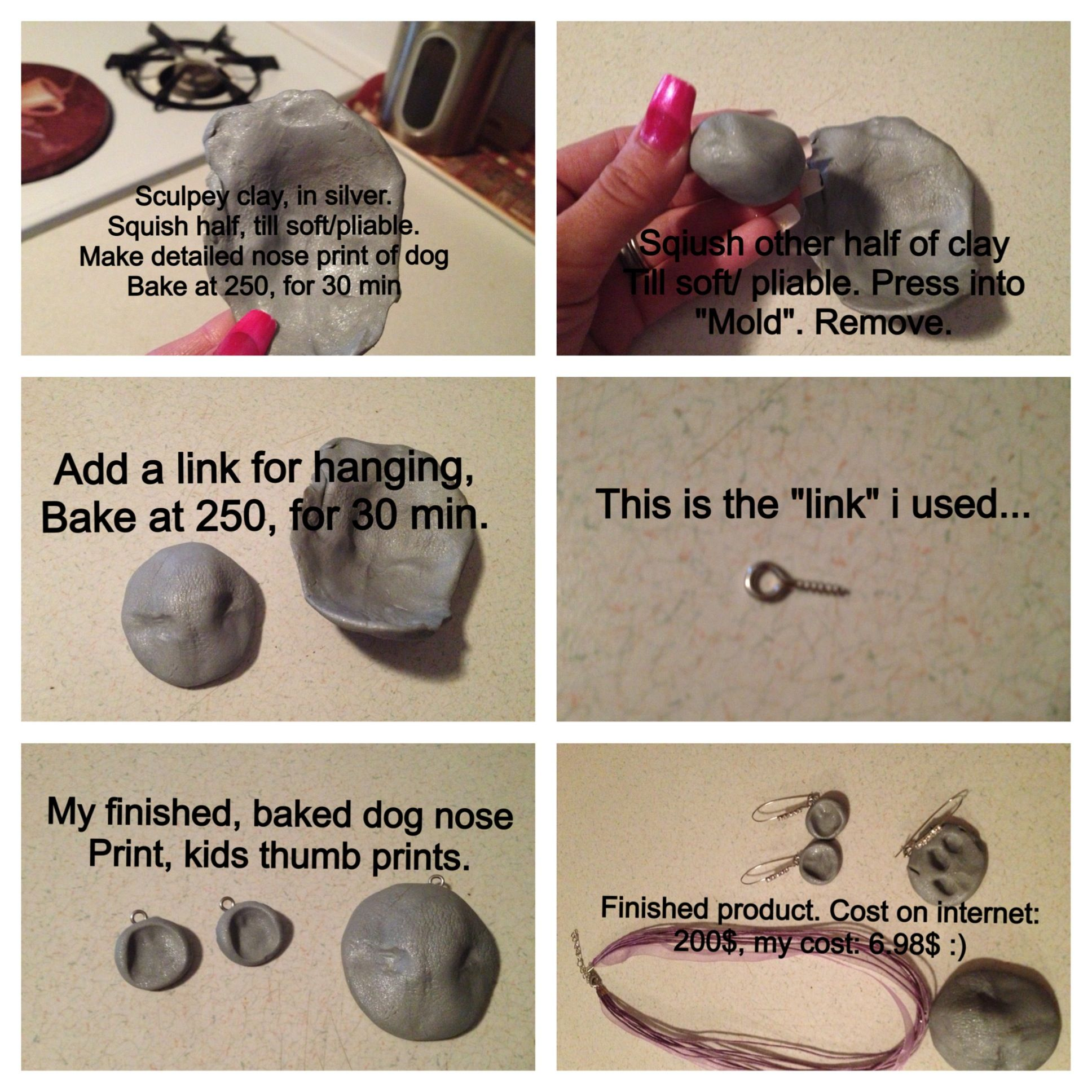 DIY dog nose print charm as low as 7$! | crafty | Dog nose
