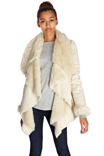 Faux Shearling Drape Jacket | My Wishlist | Pinterest