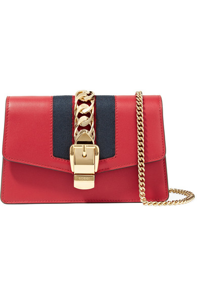 08dfbe1a3 Gucci - Sylvie Mini Chain-embellished Leather Shoulder Bag - Red