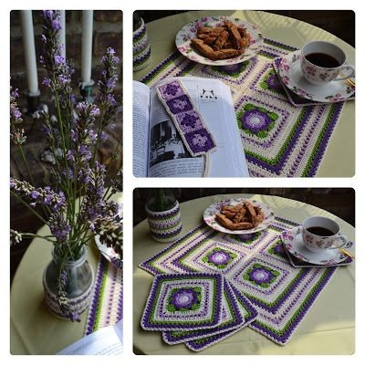set of crochet placemat, coasters, vase cover and bookmark <3