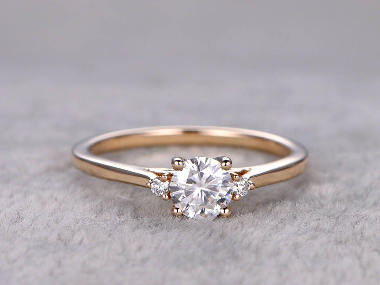 Moissanite diamond engagement rings yellow gold kk carat