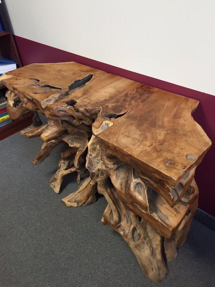 awesome teak roots console sofa table live edge handmade rh pinterest com