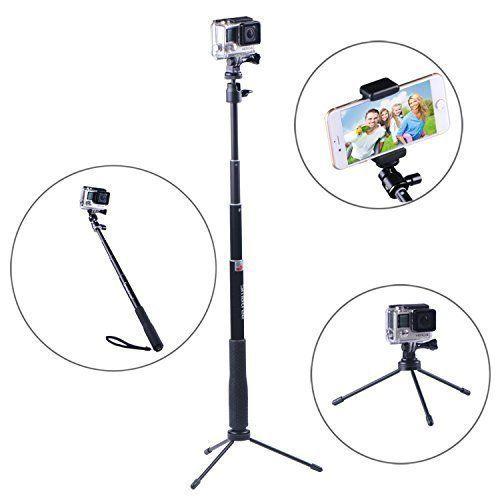 Smatree Smapole Q3 Extensible Selfie Stick Monopod Con 1 4 Trípode Plegable 3 Piernas Soporte Para Gopro Hero Hero4 3 Compact Camera Gopro Gopro Hero