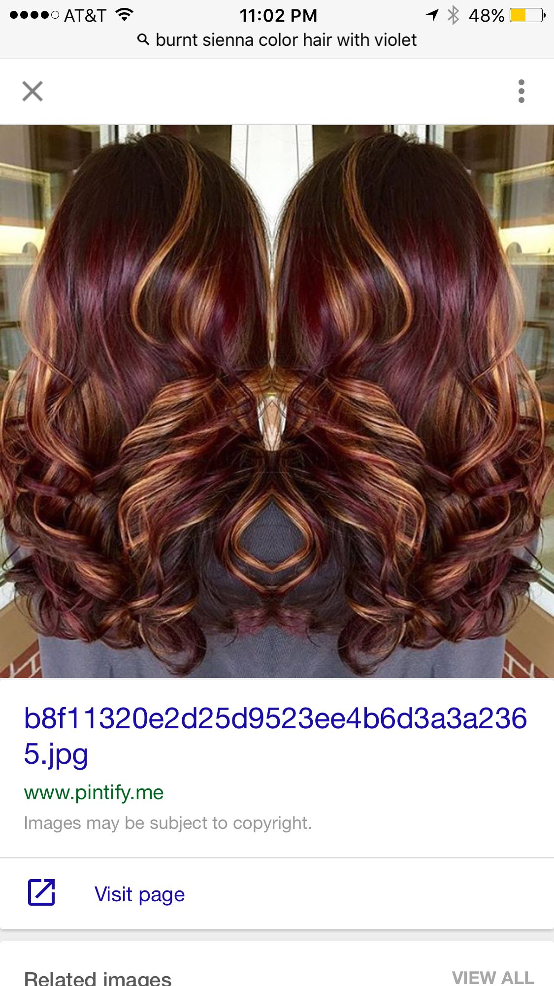 Violet Burnt Sienna Hair Ideas Pinterest Violets Hair