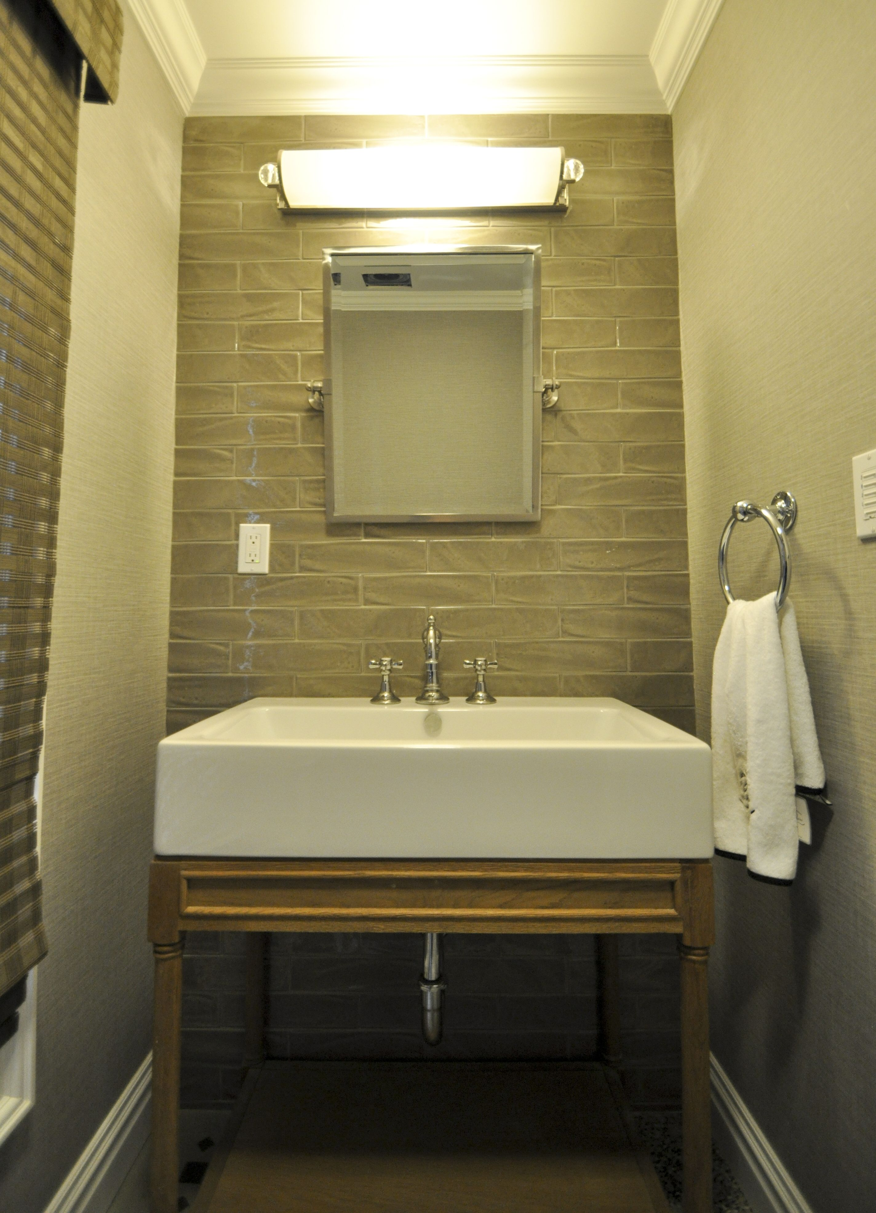 1 2 Bath With Tile Accent Wall Pivot Mirror Chrome Fixtures And Open Bottom Vanity Tile Accent Wall Chrome Fixtures Vanity