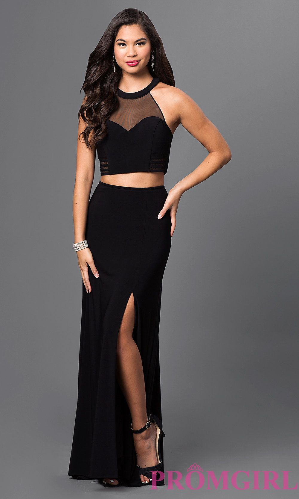 ad6e98c10f9 Image of long black two piece dress with sweetheart illusion top bra cups  racerback side cut outs and long jersey skirt with side slits. Front Image