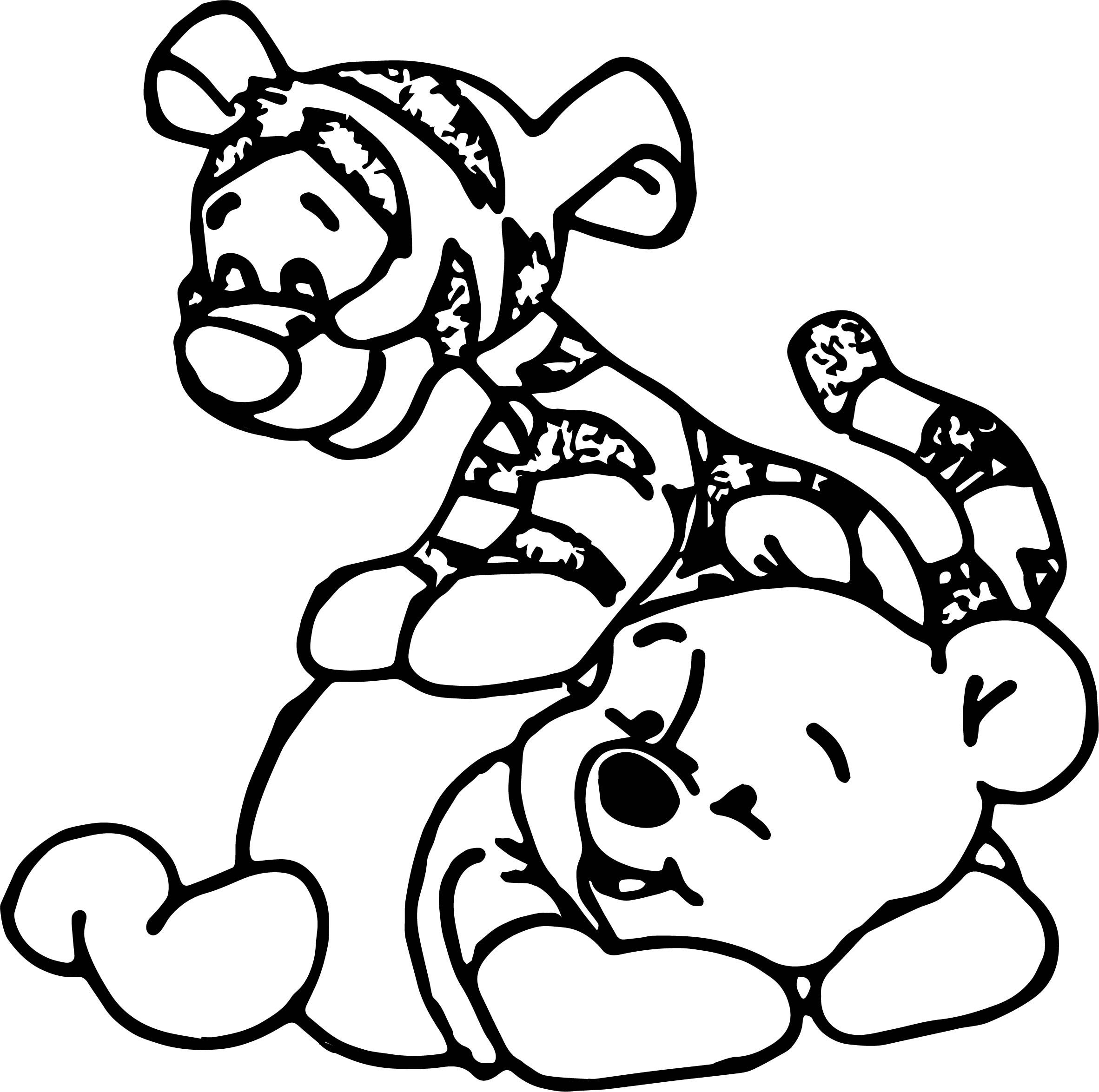nice Baby Tigger Jump On Body Coloring Page Coloring