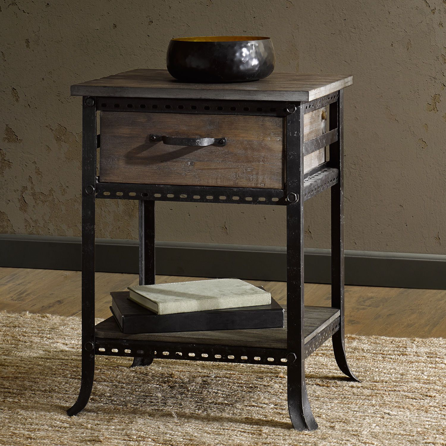 Industrial Accent Table End Bed Side Nightstand Rustic Distressed Metal Wood