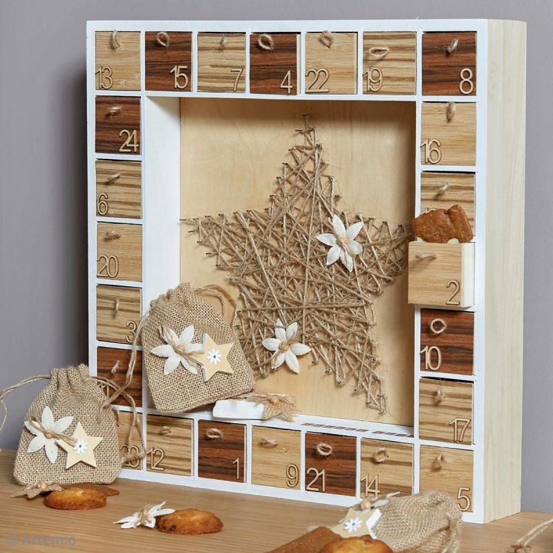Bricolage Noël : Calendrier de l'Avent Nature chic - Idées conseils et tuto Calendrier de l'avent #calendrierdel#39;aventdiy