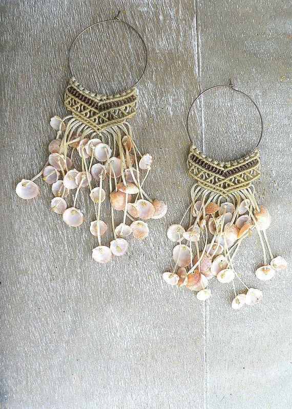 Sea Shells Earrings-micro macrame handmade by BohemaNights on Etsy