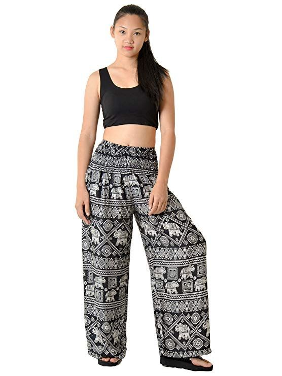 cf20613b369bd Orient Trail Women s Bohemian Elephant Design Yoga Wide Leg Harem Pants  Large Elephant Black 2