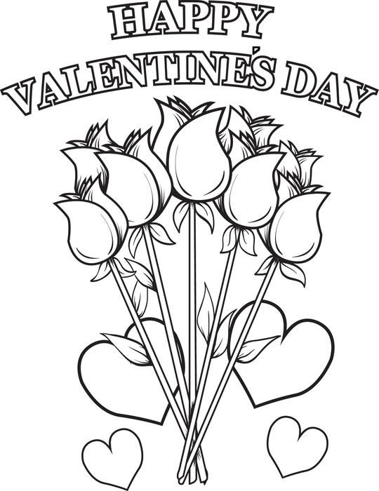 Happy Valentines Day Flowers Coloring Page  Free printable