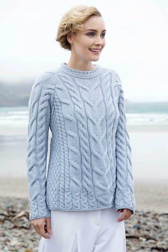 Women\'s Soft Cable Knit Aran Sweater - Blue | Prendas y Tejidos 2 ...