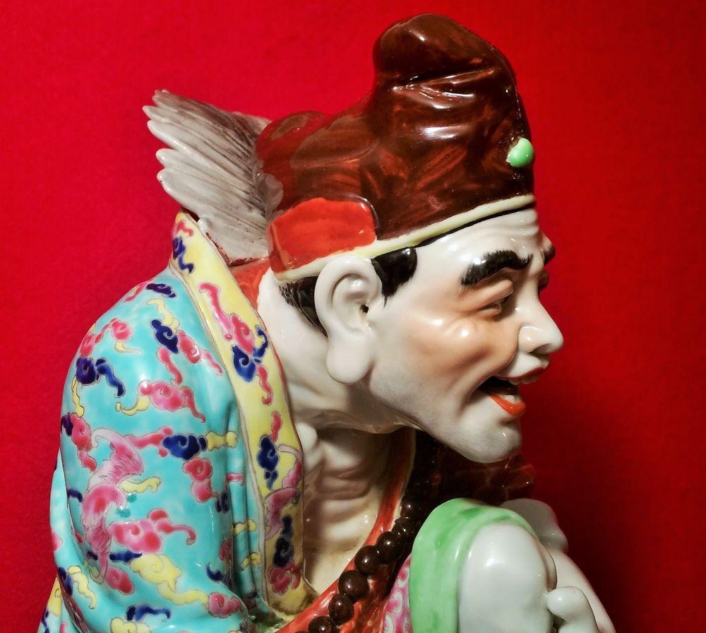 JI GONG Buddha antique Chinese porcelain statue famille rose asian art sculpture