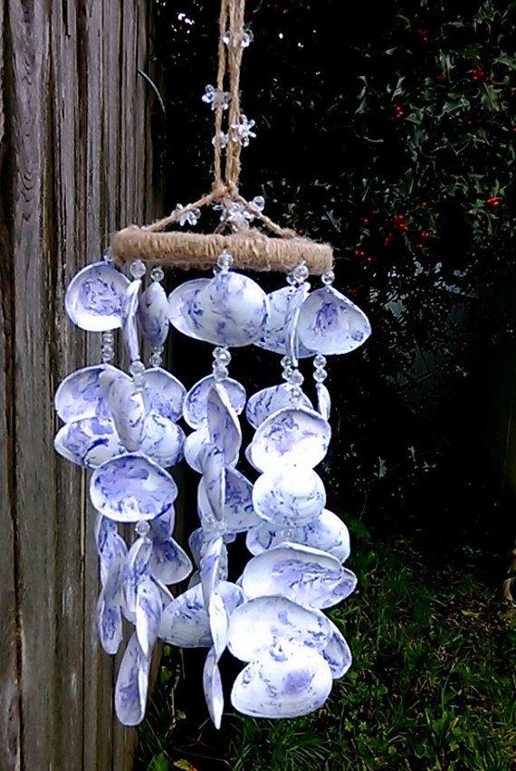 vent violet carillon ext rieur jardin mer coquillage mobile fait la main c te cour decoration. Black Bedroom Furniture Sets. Home Design Ideas