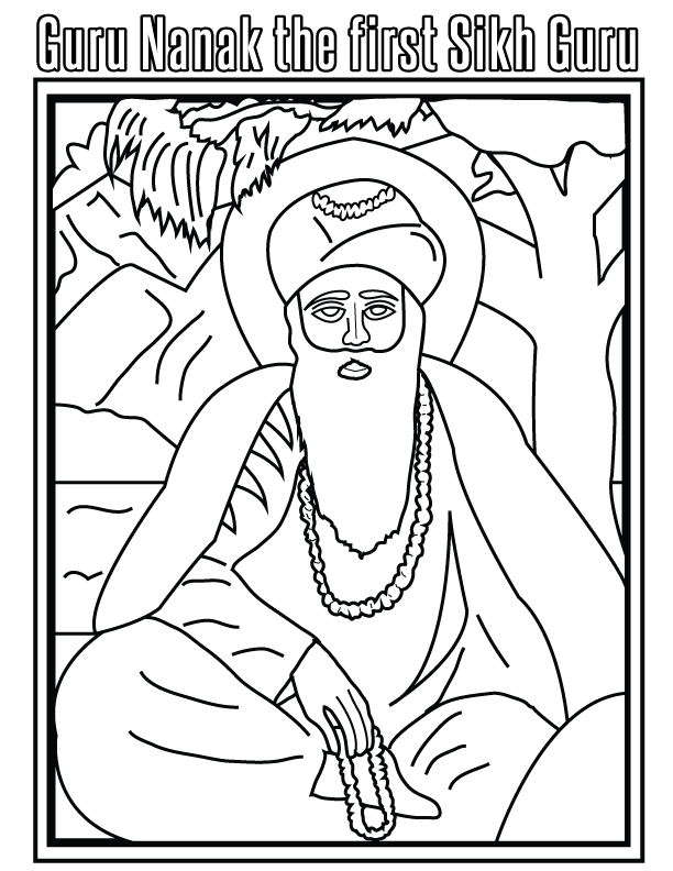 Sikh Guru, India, coloring page | Coloring pages | Pinterest