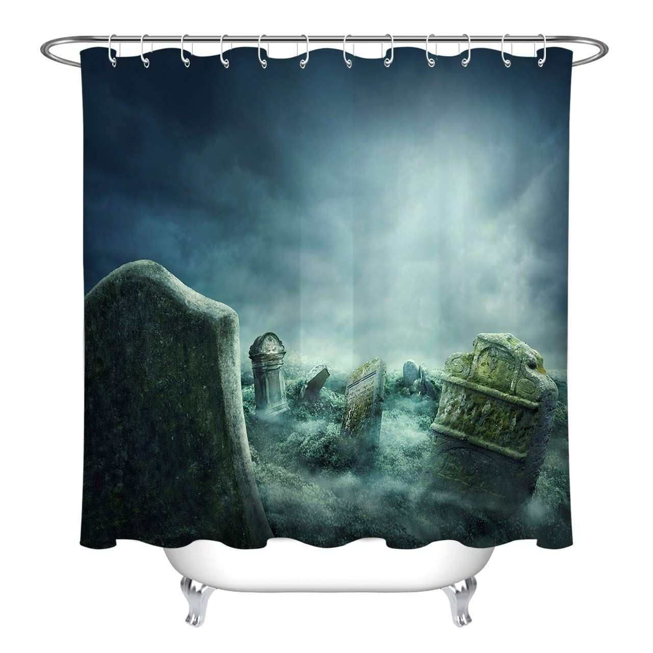 Lb Scary Grave Tomb Stone Rip Graphic Print Shower Curtains For