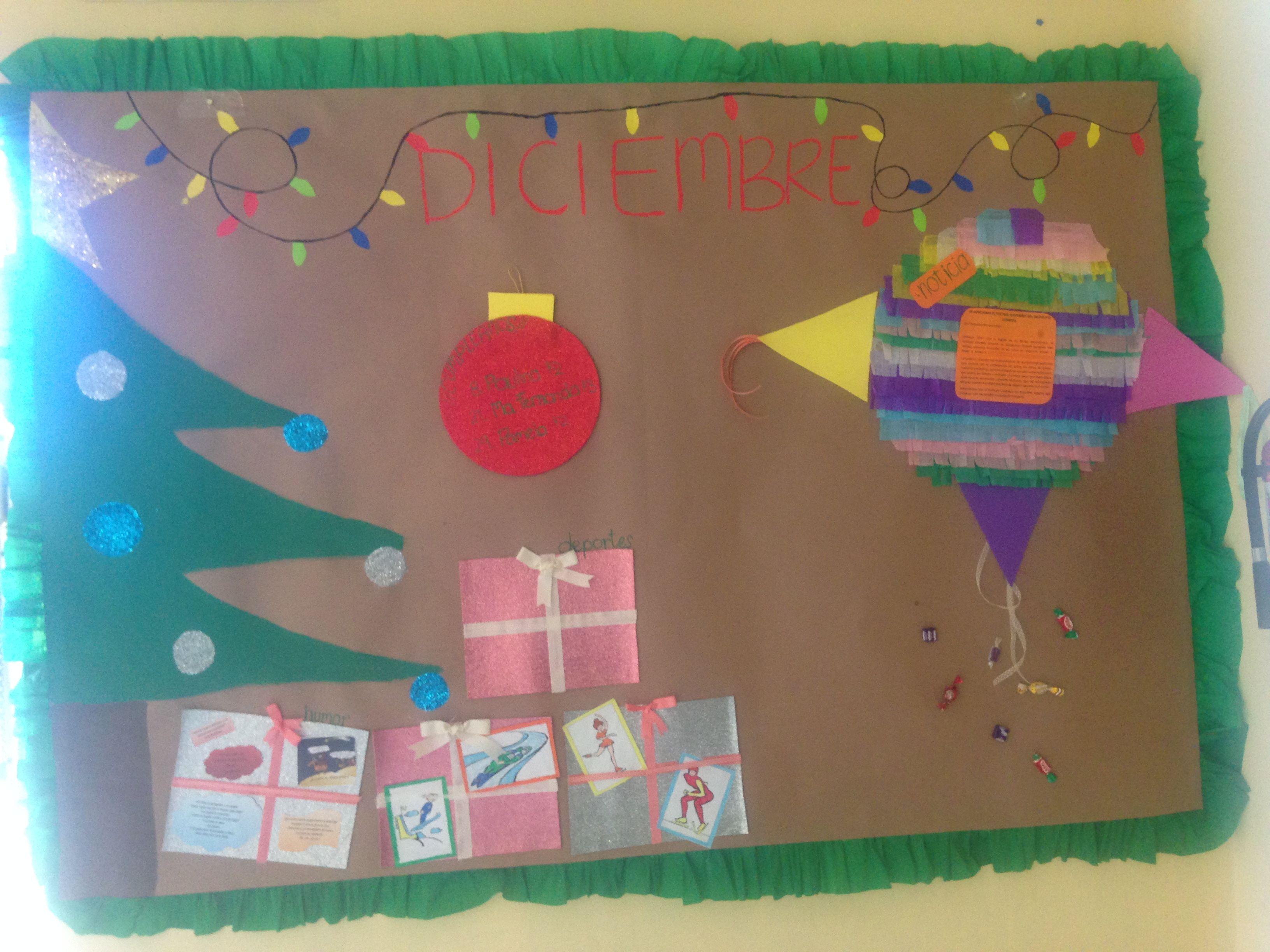 Peri dico mural diciembre escuela pinterest - Murales decorativos de navidad ...