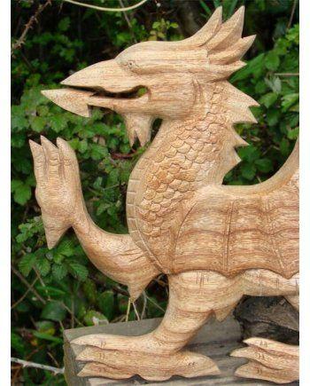 Welsh Dragon Wooden Garden Ornament Wooden Garden 400 x 300