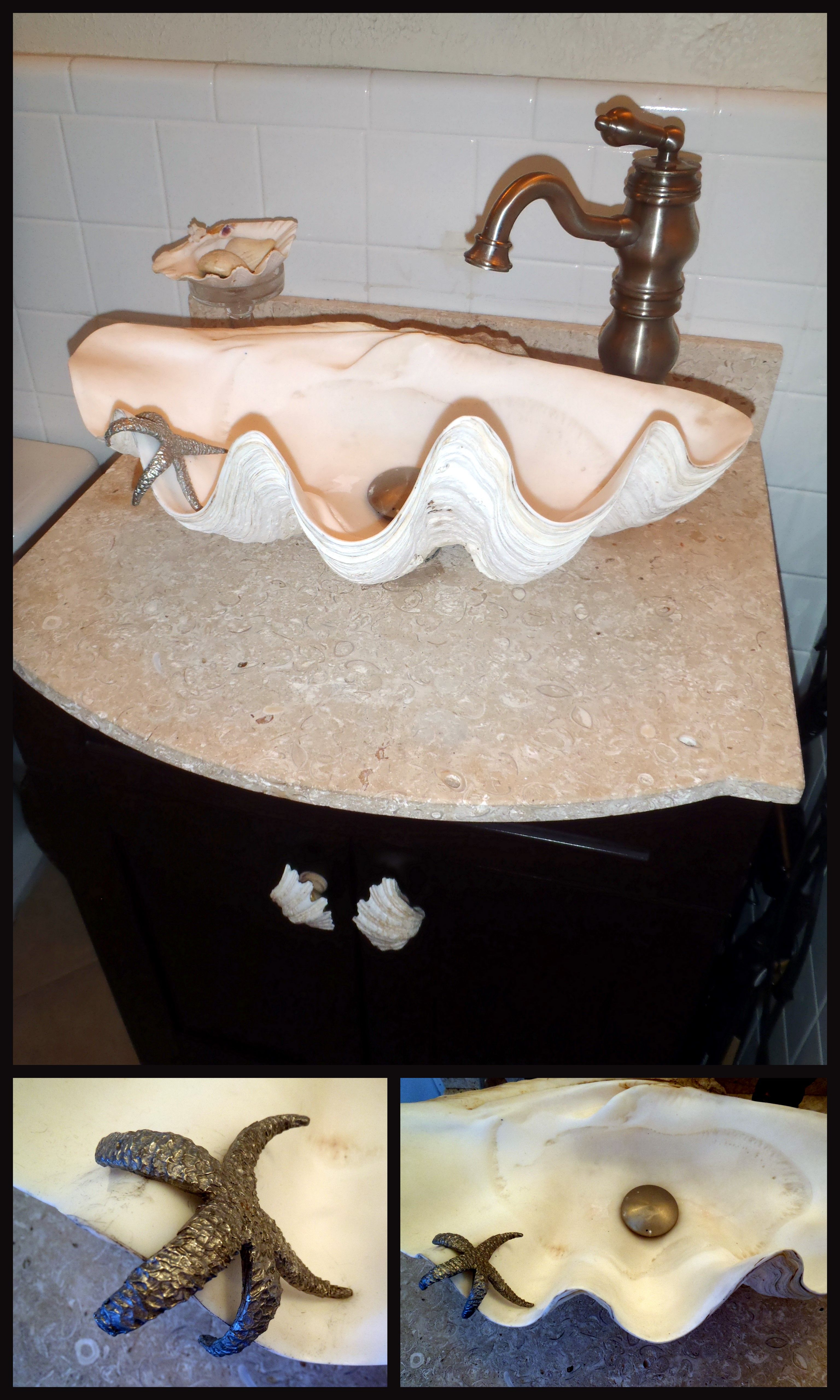 Giant Clam Shell Sink With Clam Shell Soap Holder Bathroom