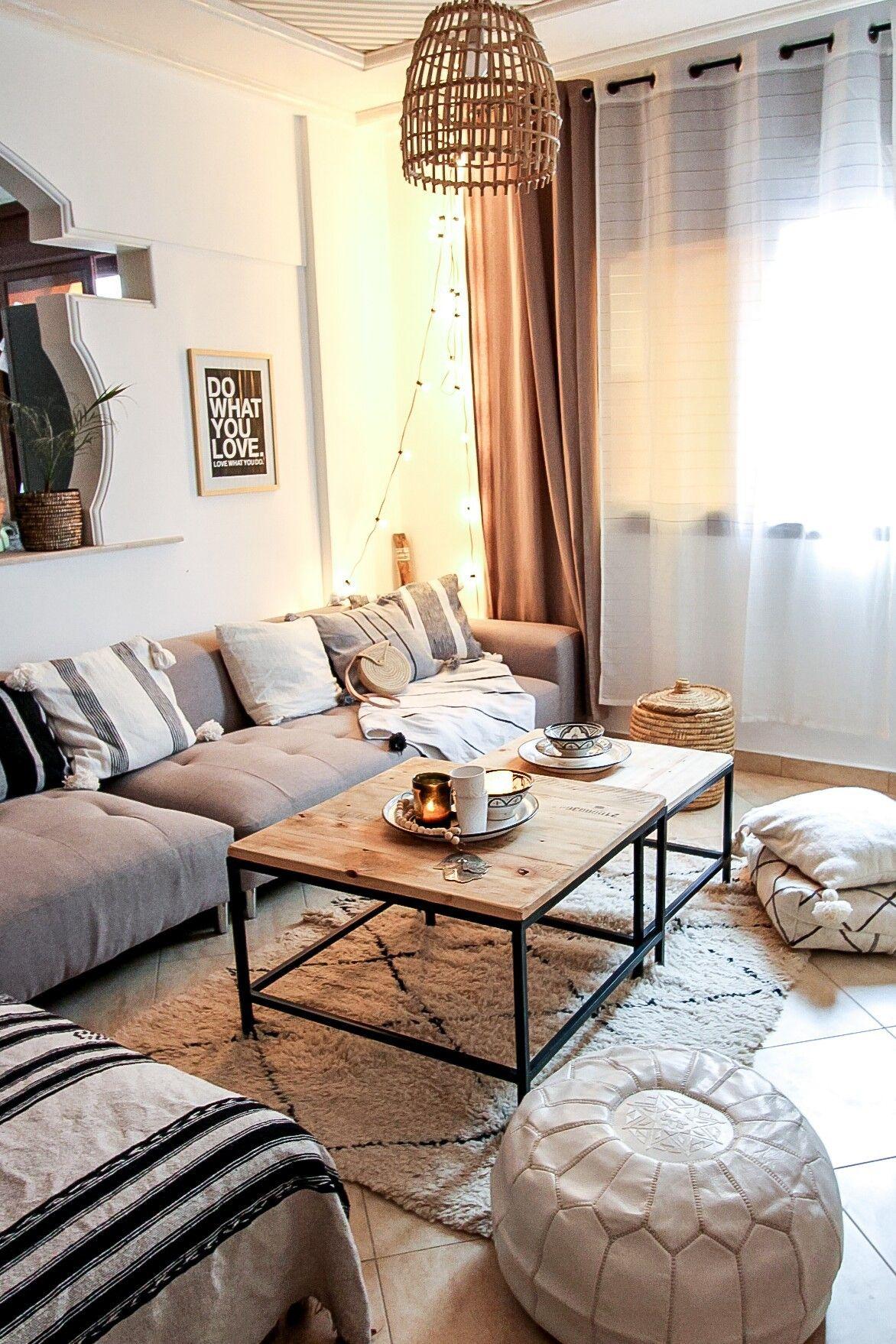 Boho Wohnzimmer mit handgemachter Deko aus Marokko  ...