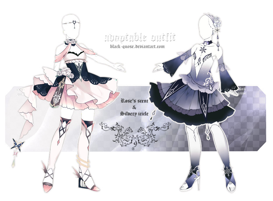 [CLOSED] Rose/Ice Outfit Adopts Auction by BlackQuose