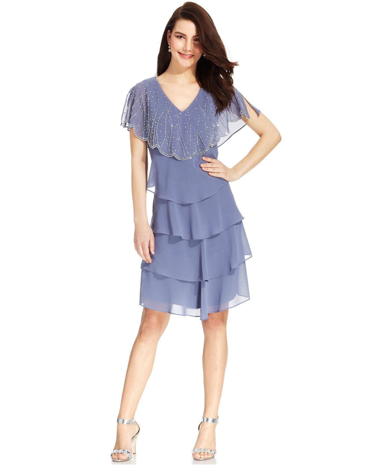 Patra Embellished Tiered Chiffon Dress - Dresses - Women - Macy's ...