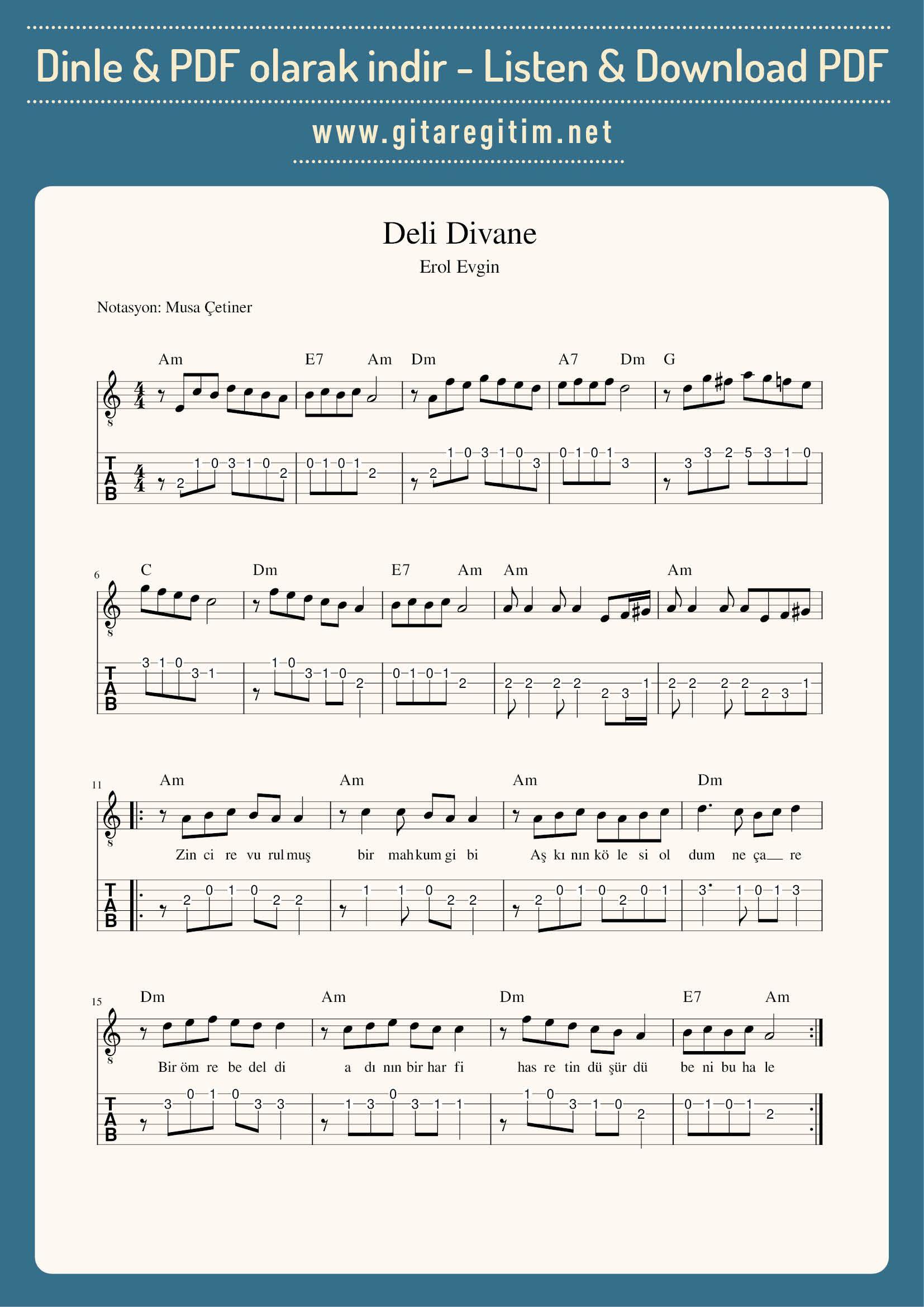 Deli Divane Nota Tab Gitaregitim Net Notalara Dokulmus Muzik Muzik Calisma Kagitlari Flut
