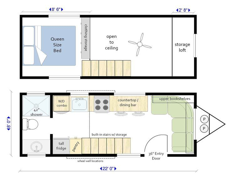 22 Ft Trailer Large Living Room And Dining Bar Mid Sized 42 Bathroom Plenty Of Pantry A Tiny House Plans Tiny Houses Plans With Loft Building A Tiny House