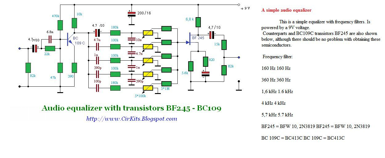 Audio equalizer with transistors BF245 BC109 schematic