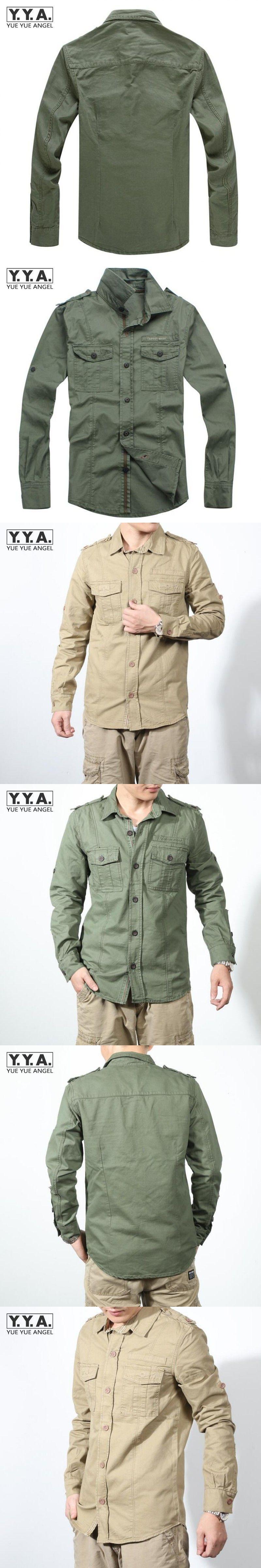 6aa7fa2cba Casual Slim Fit Men s Cotton Khaki Cargo Shirts Jean Military Style Long  Sleeve Shirt Multi-