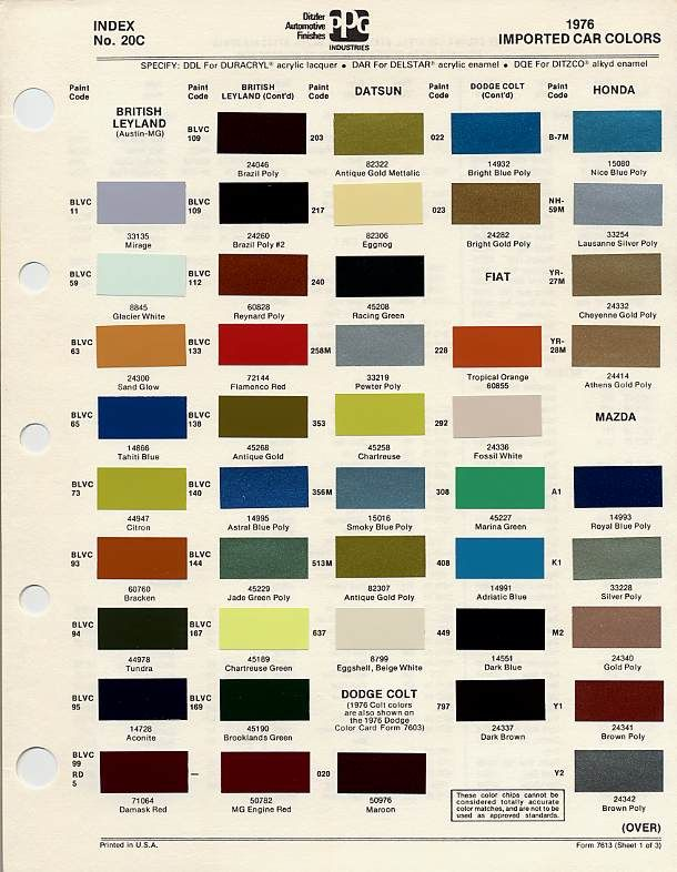 BmcBl Paint Codes And Colors  Tech Library  The AustinHealey