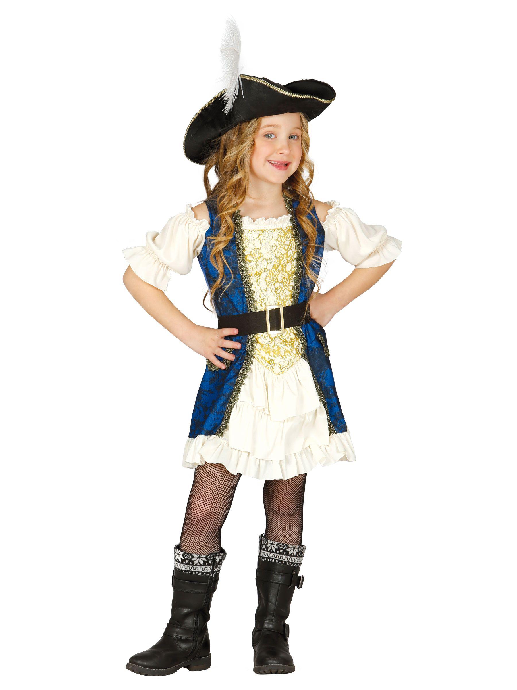 Disfraz de capitán pirata azul niña  e9b52e294e5