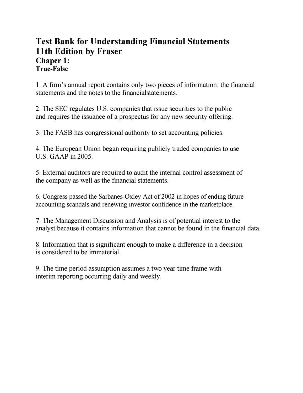 Link download test bank for understanding financial statements 11th edition  by fraser